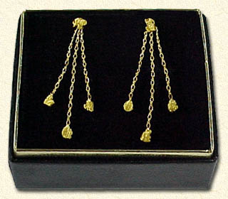 3 figaro-style chain dangles with  14kt. nugget posts