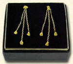3 figaro-style chain dangles with  14kt. ball posts
