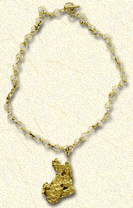 A two ounce natural nugget pendent with another style of hand made, 14Kt. gold chain.