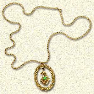Ladies oval pendant with dangle nugget and Tsavorite garnet, 14kt rope chain
